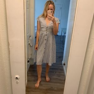 bebop white and blue stripped dress